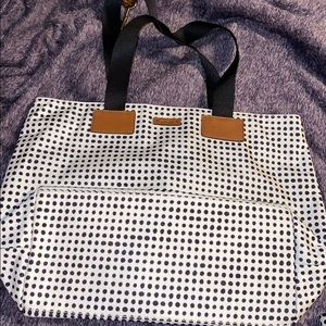 Fossil tote - never used! Cute black polka dots